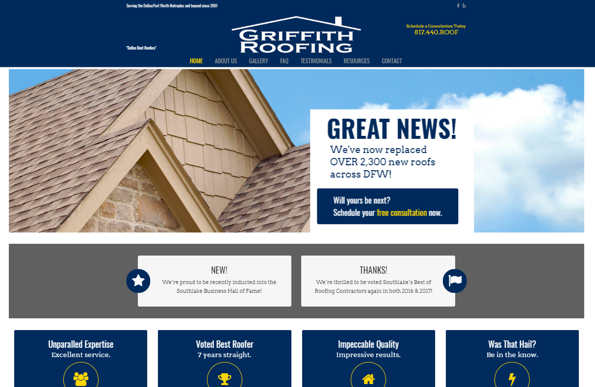 Griffith Roofing Website